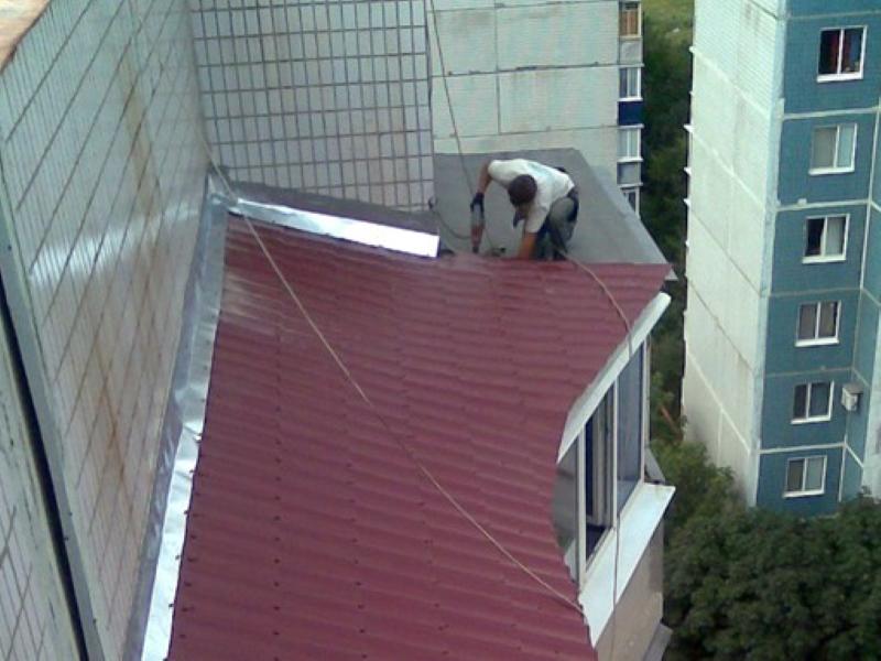 Кровля козырька балкона.